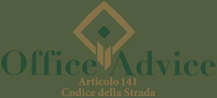 Articolo 141 - Codice della Strada