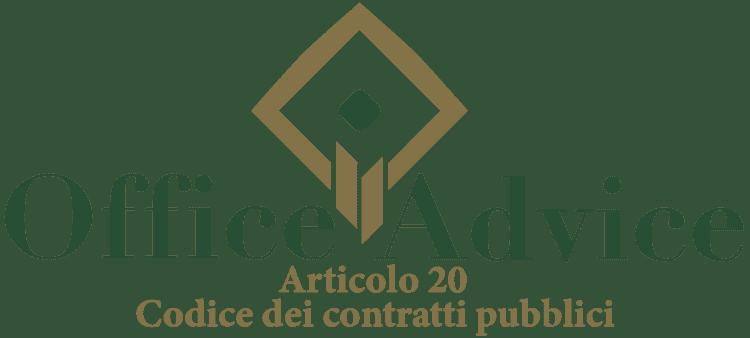 Articolo 20 - Codice dei Contratti Pubblici (Nuovo Codice degli Appalti)