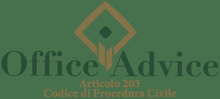 Articolo 203 - Codice di Procedura Civile