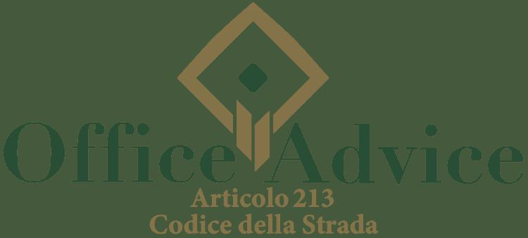 Articolo 213 - Codice della Strada