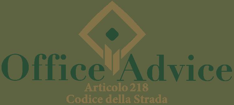 Articolo 218 - Codice della Strada