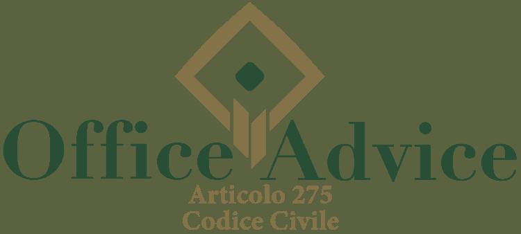 Articolo 275 - Codice Civile