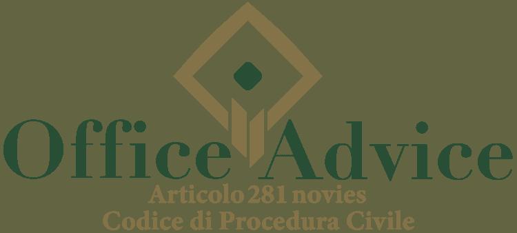 Articolo 281 novies - Codice di Procedura Civile