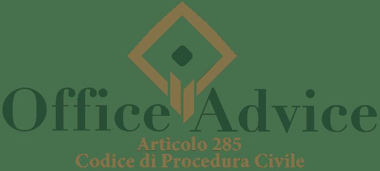 Articolo 285 - Codice di Procedura Civile