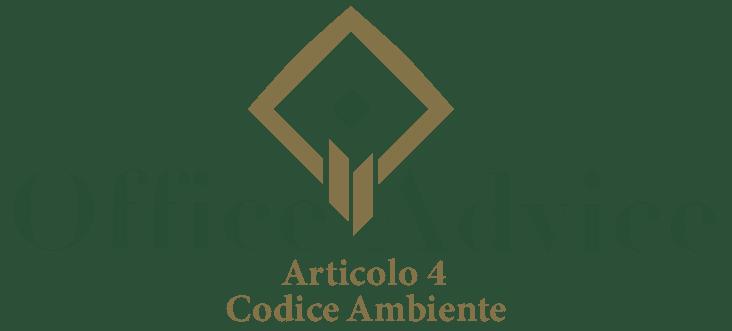 Art. 4 - Codice ambiente