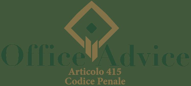 Articolo 415 - Codice Penale